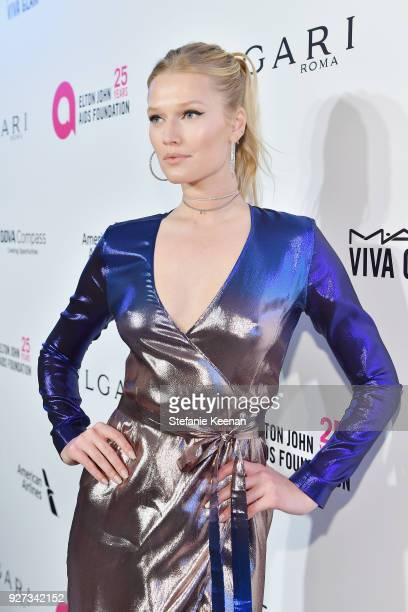 Toni Garrn attends the 26th annual Elton John AIDS Foundation Academy Awards Viewing Party sponsored by Bulgari celebrating EJAF and the 90th Academy...