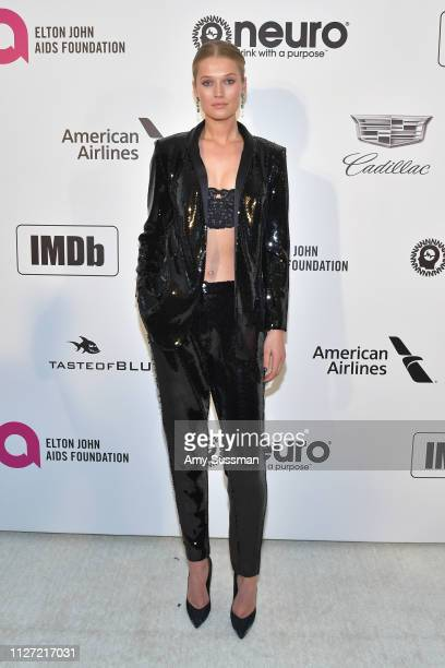 Toni Garrn attends the 27th annual Elton John AIDS Foundation Academy Awards Viewing Party celebrating EJAF and the 91st Academy Awards on February...