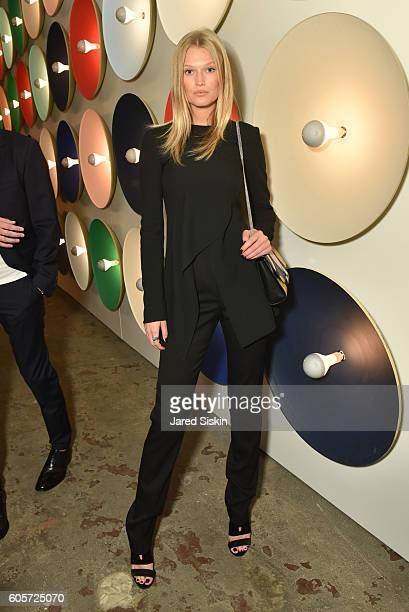 Toni Garrn attends the Boss Womenswear fashion show during New York Fashion Week September 2016 at The Gallery Skylight at Clarkson Sq on September...