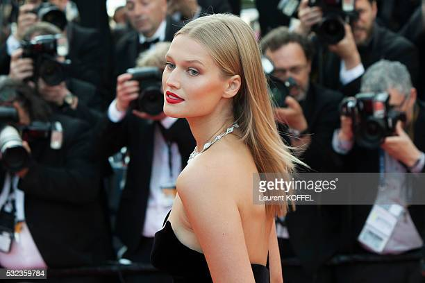 Toni Garrn attends the 'Loving' red carpet arrivals during the 69th annual Cannes Film Festival at the Palais des Festivals on May 16, 2016 in...