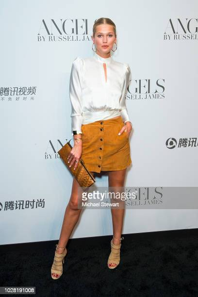 Toni Garrn attends the Russell James 'Angels' book launch & exhibit at Stephan Weiss Studio on September 6, 2018 in New York City.