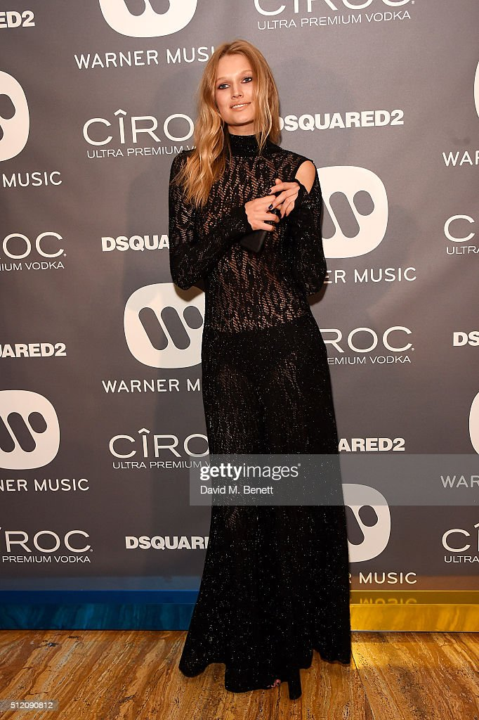 Toni Garrn attends the Warner Music Group & Ciroc Vodka Brit Awards after party at Freemasons Hall on February 24, 2016 in London, England.