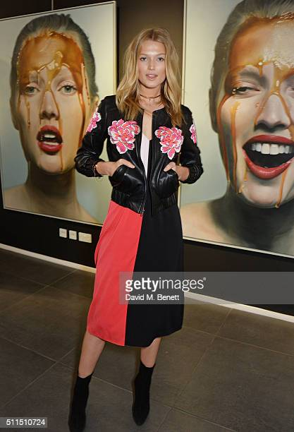 Toni Garrn attends Toni Garrn by Mike Dargas presented by JeanDavid Malat at Opera Gallery on February 21 2016 in London England