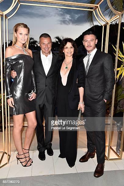 Toni Garrn Bvlgari CEO JeanChristophe Babin Juliette Binoche and Luke Evans attend a BVLGARI press dinner during a fourday BVLGARI Brand Event on...