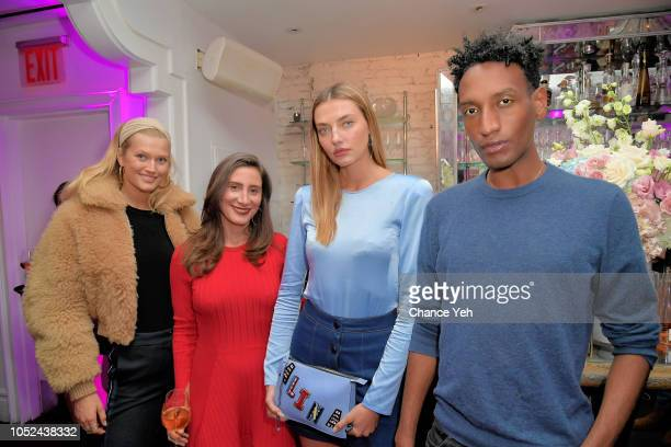 Toni Garrn Pickable CEO Tamara Goldstein Alina Baikova and Abel Daniel attend Pickable launch celebration at Beauty and Essex New York City on...