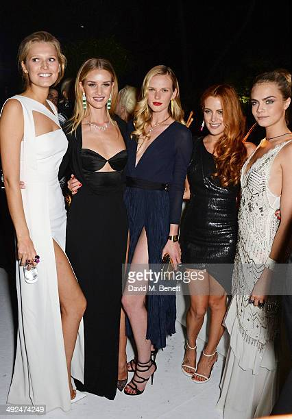 Toni Garrn Rosie Huntington Whiteley Anne Vyalitsyna Riley Keough and Cara Delevingne attend the de Grisogono 'Fatale In Cannes' party during the...