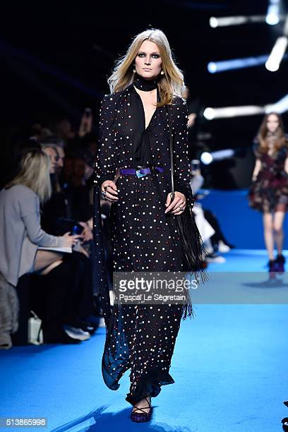 Toni Garrn walks the runway during the Elie Saab show as part of the Paris Fashion Week Womenswear Fall/Winter 2016/2017 on March 5 2016 in Paris...