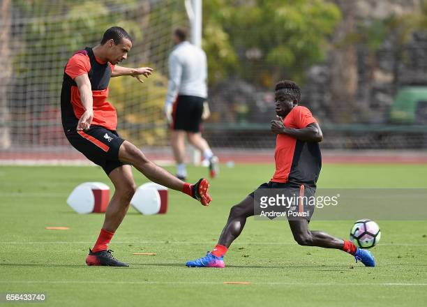 Toni Gomes and Joel Matip of Liverpool during a training session at Tenerife Top Training on March 21 2017 in Tenerife Spain