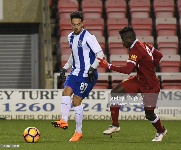 Toni Gomes of Liverpool and Bruno Costa of Porto in action during the Liverpool v Porto Premier League International Cup game at Leigh Sports Village...