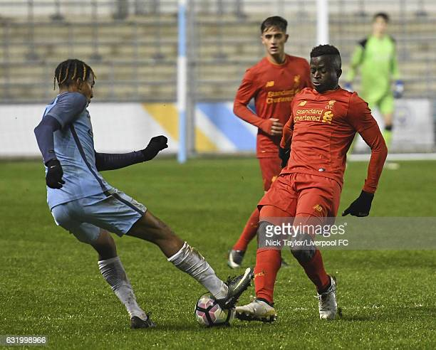 Toni Gomes of Liverpool and Demeaco Duhaney of Manchester City in action during the Manchester City v Liverpool FA Youth Cup game at Etihad Campus on...