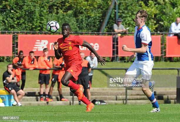 Toni Gomes of Liverpool and Frank Jones of Blackburn Rovers in action during the Liverpool v Blackburn U18 game at the Kirkby Academy on August 15...