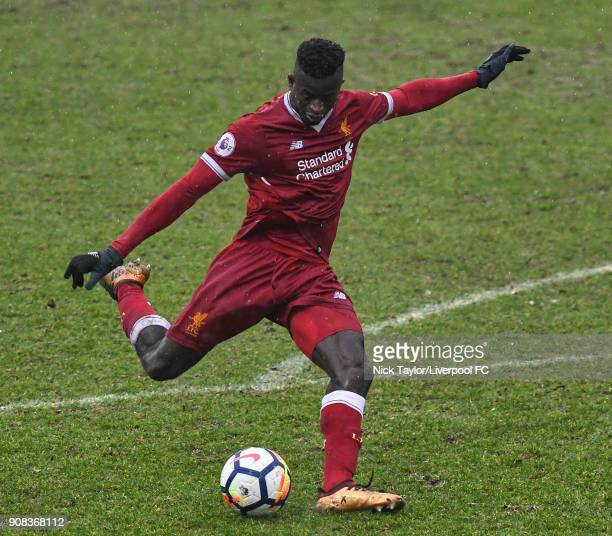 Toni Gomes of Liverpool in action during the Liverpool U23 v Charlton Athletic U23 Premier League Cup game at The Swansway Chester Stadium on January...