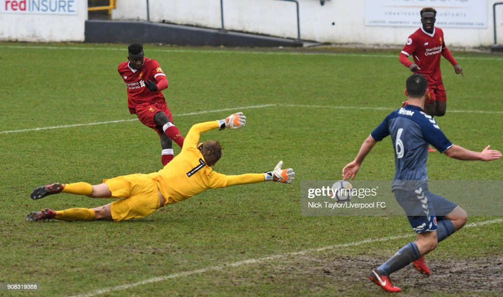 Toni Gomes of Liverpool scores the third goal for Liverpool during the Liverpool U23 v Charlton Athletic U23 Premier League Cup game at The Swansway Chester Stadium on January 21, 2018 in Chester, England.