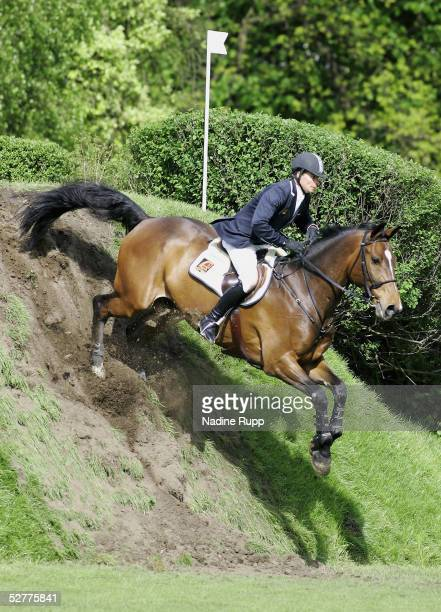 Toni Hassmann of Germany jumps on his horse Collin to the victory of the 76. German Jumping-Derby 2005 of the German Jumping and Dressage Grand Prix...