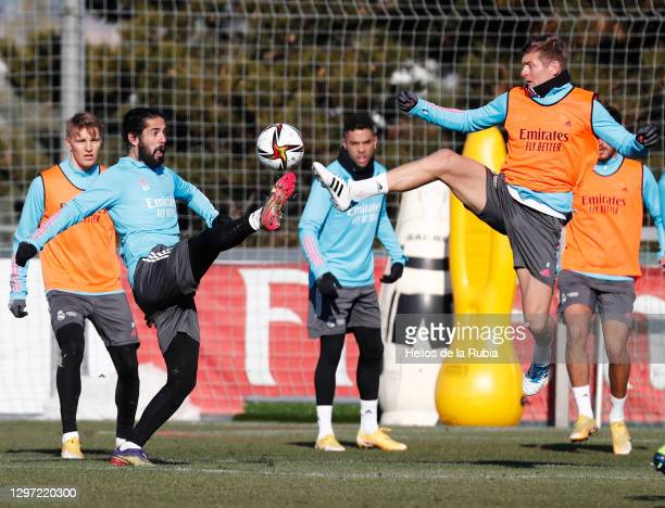 Toni Kroos and Isco Alarcón during a training session at Valdebebas training ground on January 19, 2021 in Madrid, Spain.