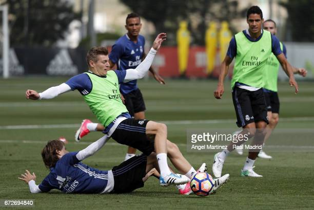 Toni Kroos and Luka Modric of Real Madrid in action during a training session at Valdebebas training ground on April 25 2017 in Madrid Spain