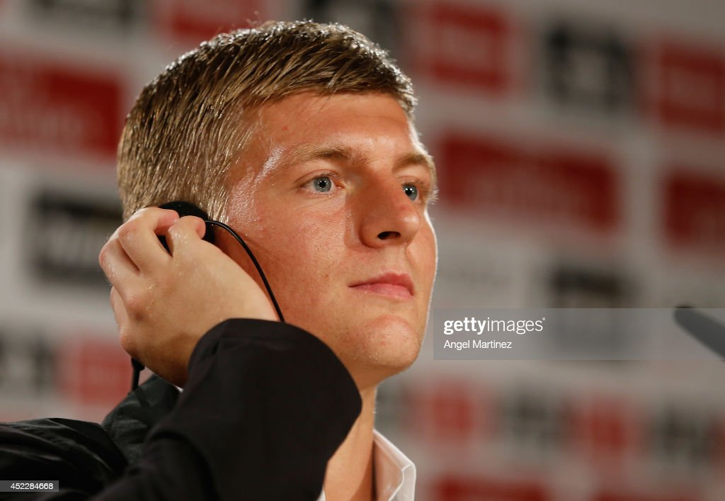 Toni Kroos attends a press conference after his official unveiling as a new Real Madrid player at Estadio Santiago Bernabeu on July 17, 2014 in Madrid, Spain.