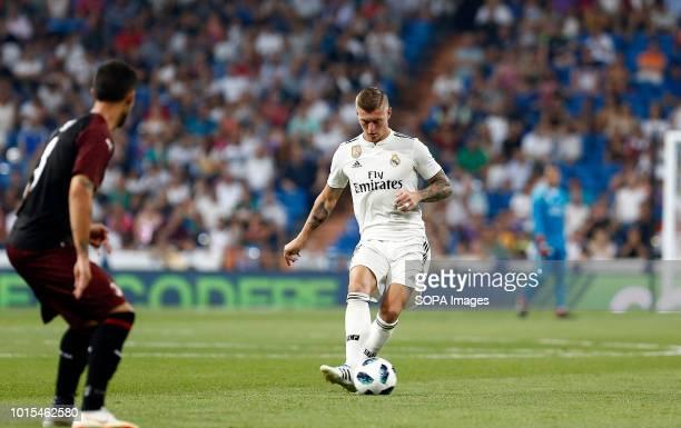 Toni Kroos during the Santiago Bernabeu Trophy 2018 match between Real Madrid and AC Milan at the Santiago Bernabeu Stadium. .