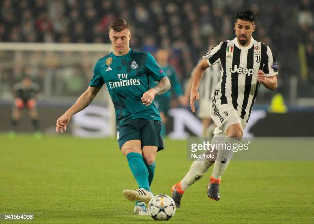 Toni Kroos during the UEFA Champions League quarterfinal first leg football match between Juventus and Real Madrid at the Allianz Stadium in Turin on...
