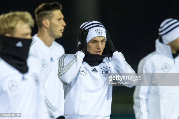 Toni Kroos is seen during their training session ahead of their UEFA Nations League match against The Netherlands on November 18 2018 in Kamen Germany