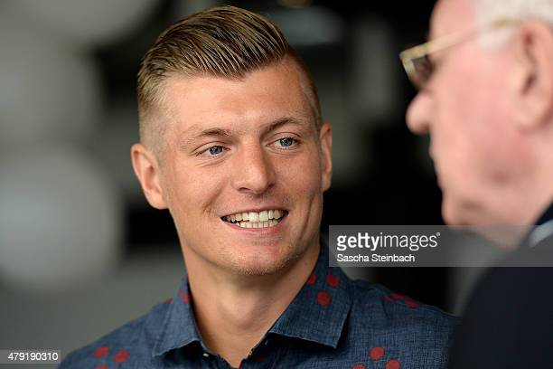 Toni Kroos looks on during the launch press conference of the Toni Kroos Foundation at Club Astoria on July 2 2015 in Cologne Germany