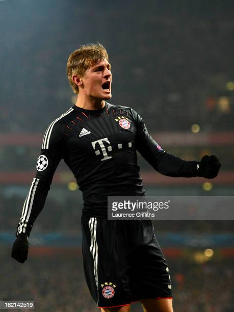 Toni Kroos of Bayern Muenchen celebrates after scoring the opening goal during the UEFA Champions League round of 16 first leg match between Arsenal...