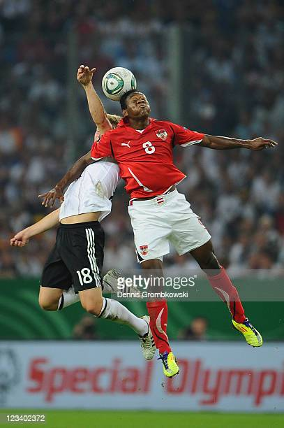 Toni Kroos of Germany and David Alaba of Austria jump for a header during the UEFA EURO 2012 qualifying match between Germany and Austria at...
