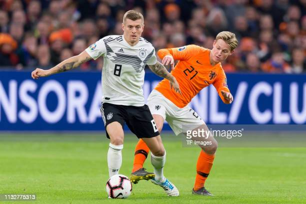 Toni Kroos of Germany and Frenkie de Jonmg of Netherlands battle for the ball during the 2020 UEFA European Championships group C qualifying match...