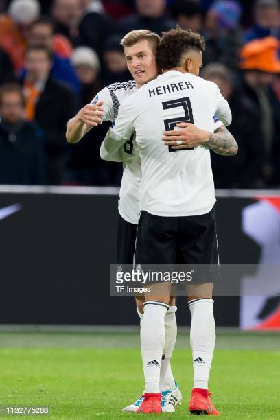 Toni Kroos of Germany and Thilo Kehrer of Germany celebrates after winning the 2020 UEFA European Championships group C qualifying match between...