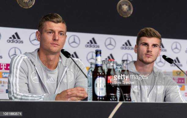 Toni Kroos of Germany and Timo Werner of Germany talk to the media during a press conference of the German national team at MercedesBenz am Salzufer...