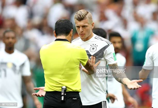 Toni Kroos of Germany argues with Referee Alireza Faghani during the 2018 FIFA World Cup Russia group F match between Germany and Mexico at Luzhniki...