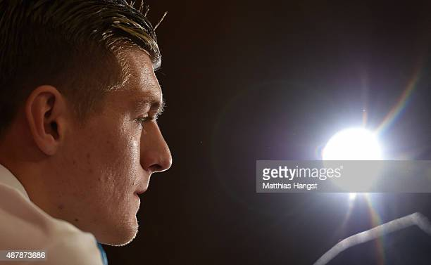 Toni Kroos of Germany attends a Germany press conference ahead of their Euro 2016 Qualifier against Georgia at the Radisson Blue Hotel on March 28...