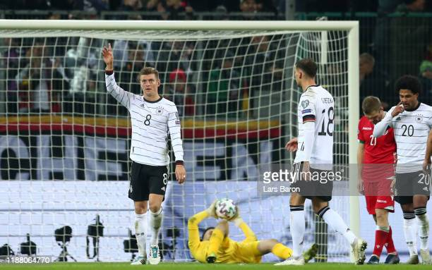 Toni Kroos of Germany celebrates after scoring his team's fourth goal during the UEFA Euro 2020 Group C Qualifier match between Germany and Belarus...