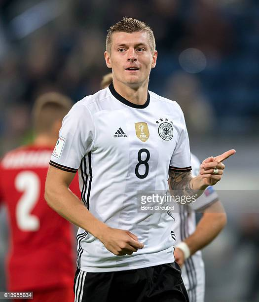 Toni Kroos of Germany celebrates after scoring his team's second goal during the FIFA World Cup 2018 qualifying match between Germany and Czech...