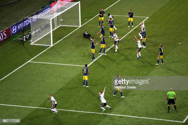 Toni Kroos of Germany celebrates after scoring his team's second goal during the 2018 FIFA World Cup Russia group F match between Germany and Sweden...