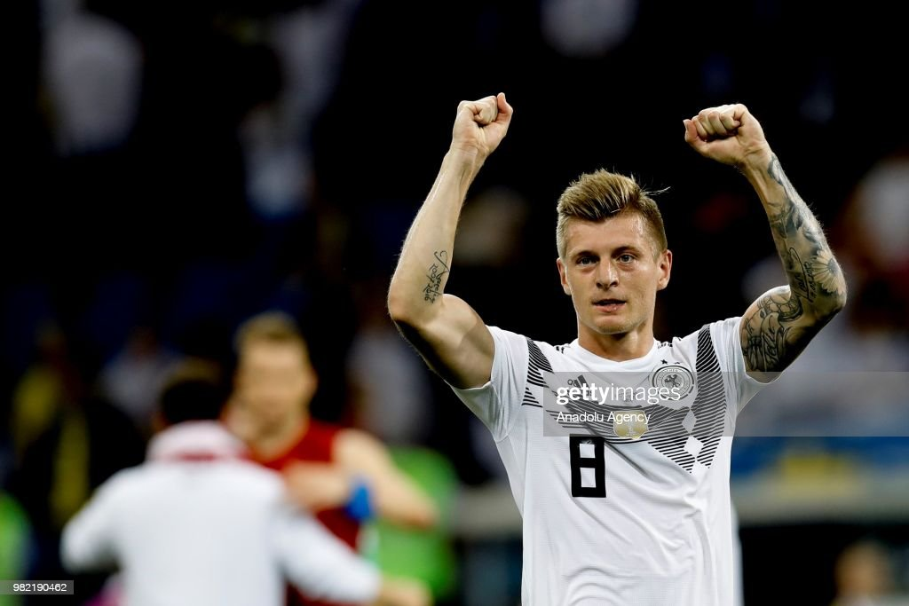 Toni Kroos of Germany celebrates after winning the match at the end of the 2018 FIFA World Cup Russia Group F match between Germany and Sweden at the Fisht Stadiumin Sochi, Russia on June 23, 2018.