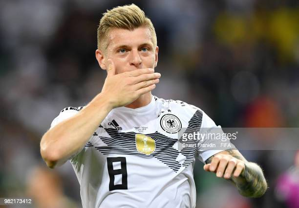 Toni Kroos of Germany celebrates at final whistle following the 2018 FIFA World Cup Russia group F match between Germany and Sweden at Fisht Stadium...