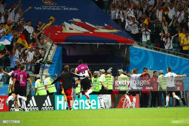 Toni Kroos of Germany celebrates scoring a goal to make it 21 during the 2018 FIFA World Cup Russia group F match between Germany and Sweden at Fisht...