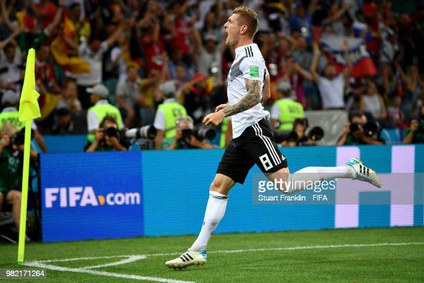 Toni Kroos of Germany celebrates scoring his sides winning goal during the 2018 FIFA World Cup Russia group F match between Germany and Sweden at...