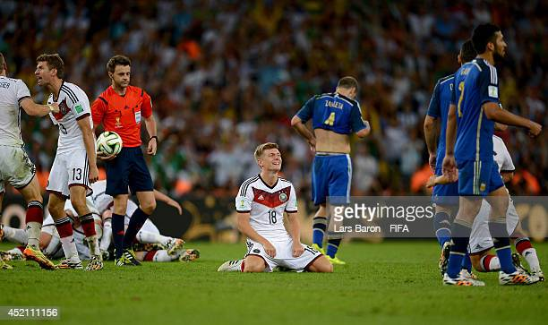 Toni Kroos of Germany celebrates the 1-0 win in the 2014 FIFA World Cup Brazil Final match between Germany and Argentina at Maracana on July 13, 2014...