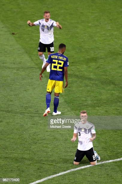 Toni Kroos of Germany celebrates victory following the 2018 FIFA World Cup Russia group F match between Germany and Sweden at Fisht Stadium on June...