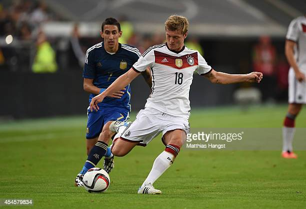 September 03: Toni Kroos of Germany controls the ball during the international friendly match between Germany and Argentina at Esprit-Arena on...