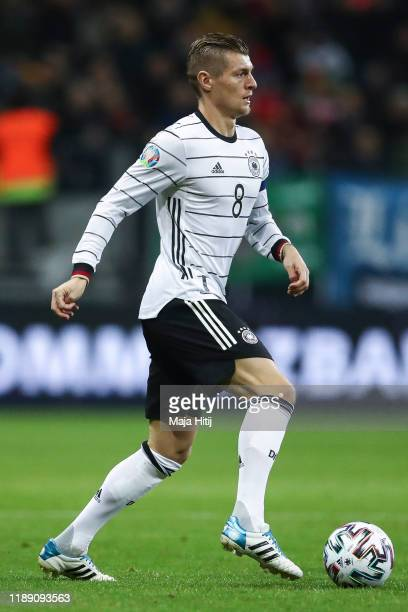 Toni Kroos of Germany controls the ball during the UEFA Euro 2020 Qualifier between Germany and Northern Ireland at Commerzbank Arena on November 19,...