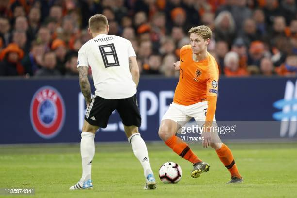 Toni Kroos of Germany Frenkie de Jong of Holland during the UEFA EURO 2020 qualifier group C qualifying match between The Netherlands and Germany at...
