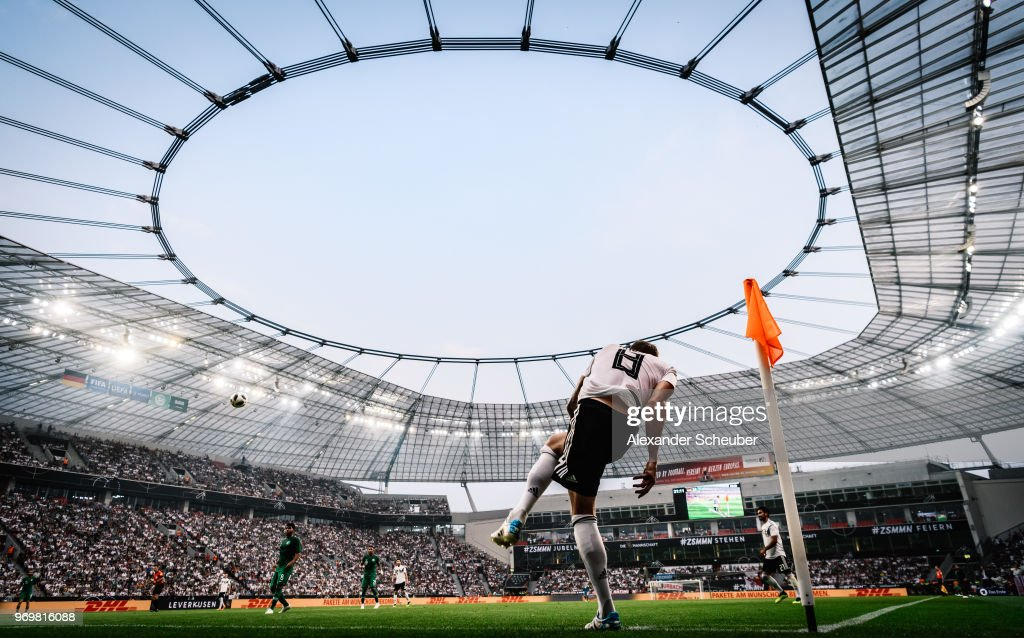 Toni Kroos of Germany hits a corner during the international friendly match between Germany and Saudi Arabia at BayArena on June 8, 2018 in Leverkusen, Germany.