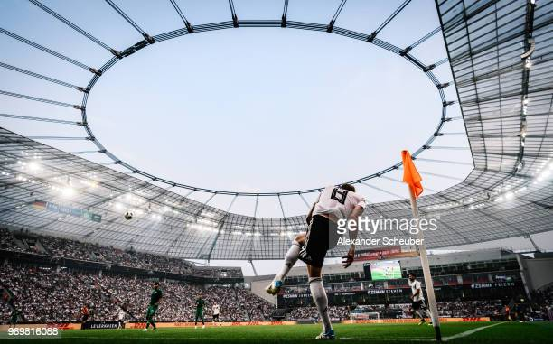 Toni Kroos of Germany hits a corner during the international friendly match between Germany and Saudi Arabia at BayArena on June 8 2018 in Leverkusen...