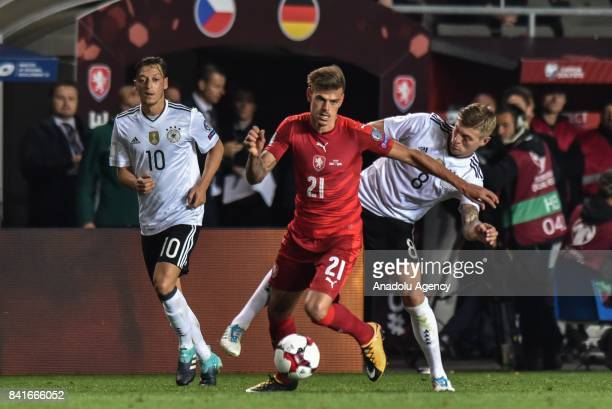 Toni Kroos of Germany in action against Jan Kliment of Czech Republic during the 2018 FIFA World Cup Qualifications Group C match between Czech...
