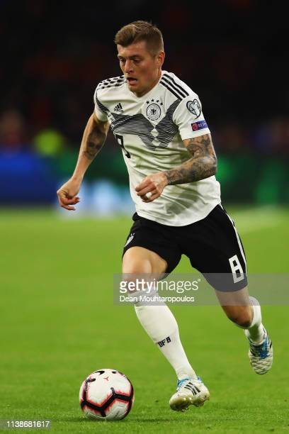 Toni Kroos of Germany in action during the 2020 UEFA European Championships group C qualifying match between Netherlands and Germany at Johan Cruyff...