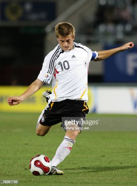 Toni Kroos of Germany in action during the FIFA U17 World Cup round of 16 match between Germany and the USA at the Cheonan Sports Complex on August...