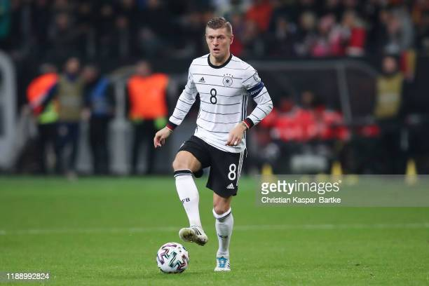 Toni Kroos of Germany in action during the UEFA Euro 2020 Qualifier between Germany and Northern Ireland at Commerzbank Arena on November 19 2019 in...
